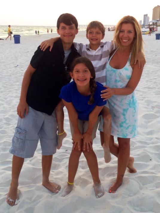 Mary and kids beach
